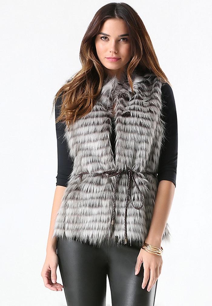 Bebe Striped Faux Fur Vest