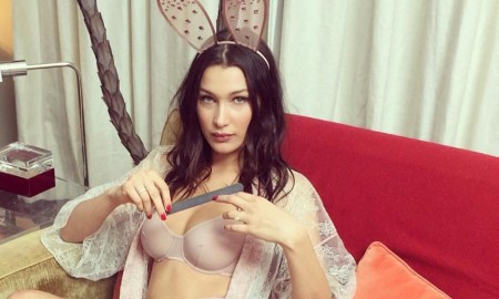 Bella Hadid flaunts some skin in sexy lingerie look with bunny ears. Photo: Instagram / LOVE