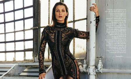 The model wears sheer looks in the editorial