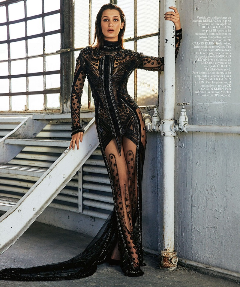Bella Hadid Wears Sheer & Sparkly Dresses in S Moda by David Roemer