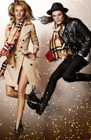 Rosie Huntington-Whiteley Goes Naked in a Burberry Scarf for Festive Ad