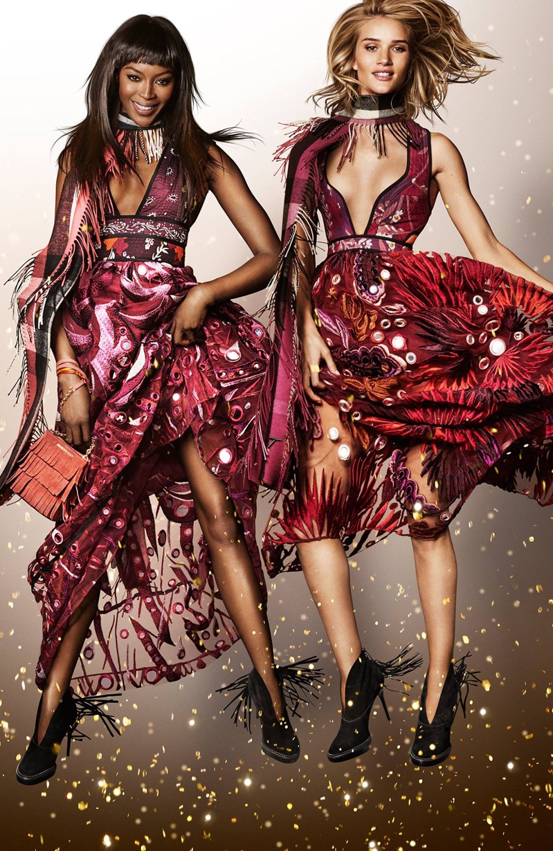Naomi Campbell and Rosie Huntington-Whiteley for Burberry festive 2015 campaign