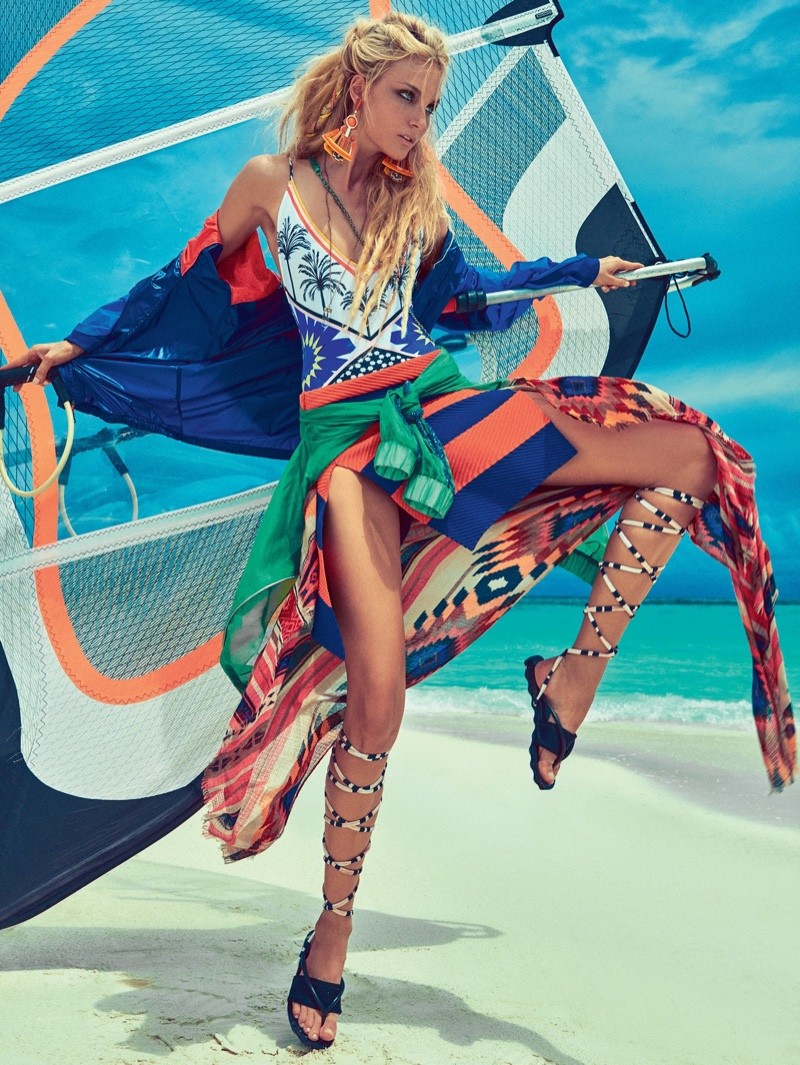 Caroline Trentini Sports Colorful Beach Fashion For Vogue