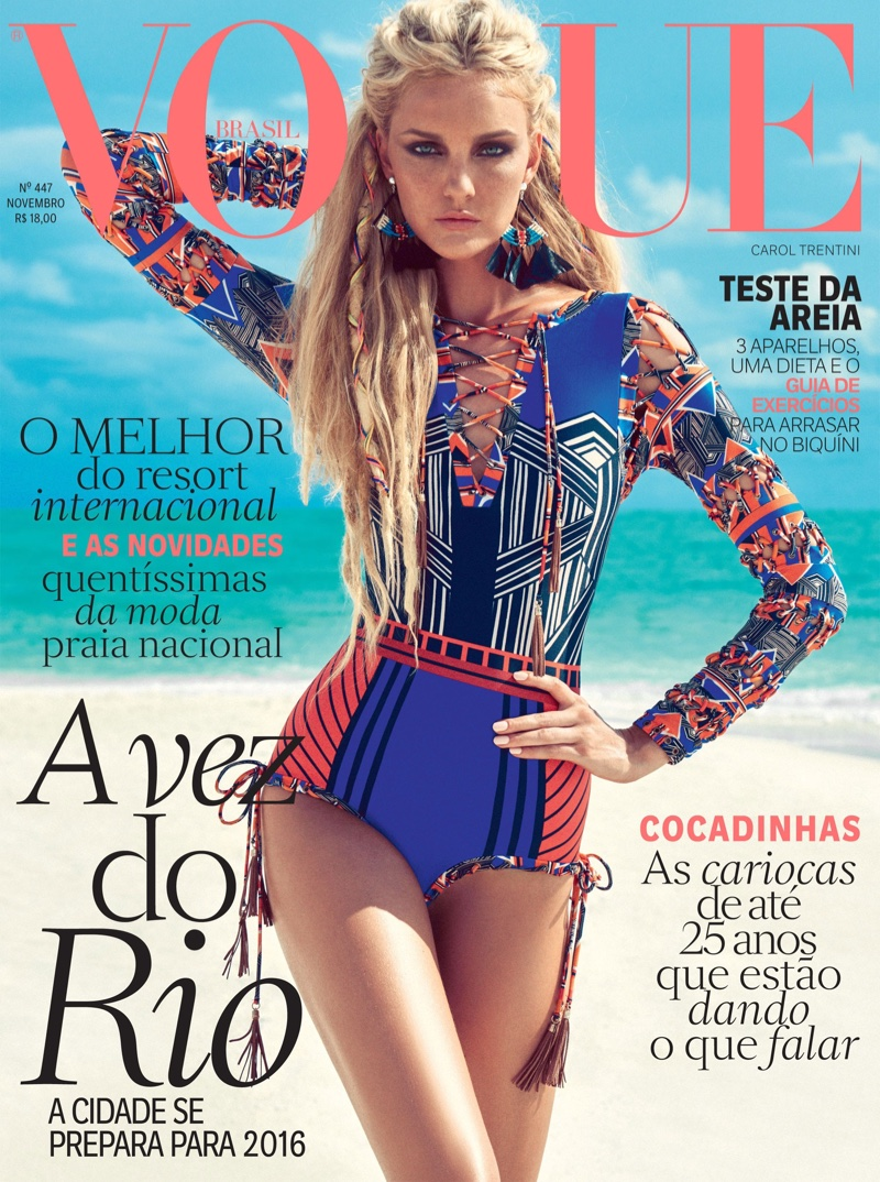 Caroline Trentini Sports Colorful Beach Fashion For Vogue Brazil November 2015