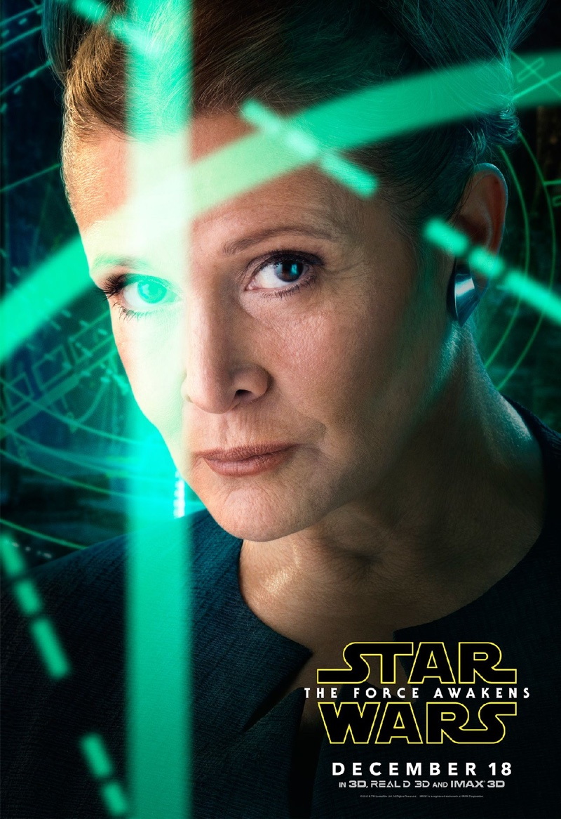 Carrie Fisher as Leia on Star Wars: The Force Awakens poster