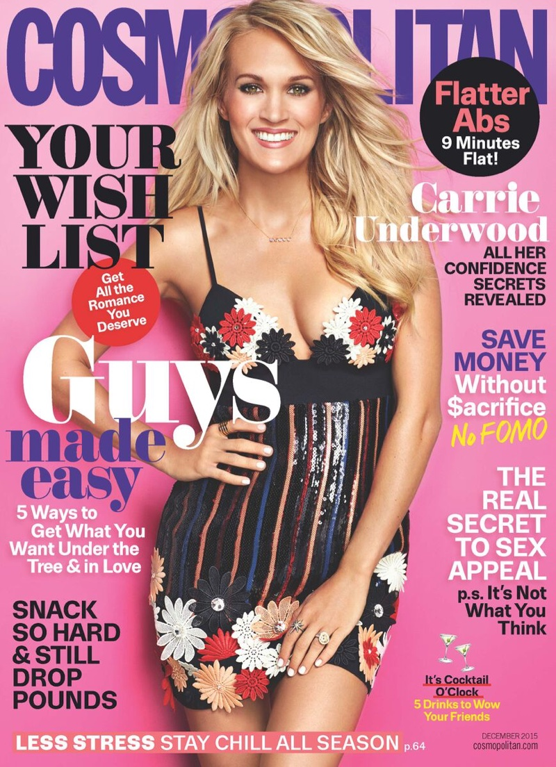 Carrie Underwood on Cosmopolitan Magazine December 2015 cover
