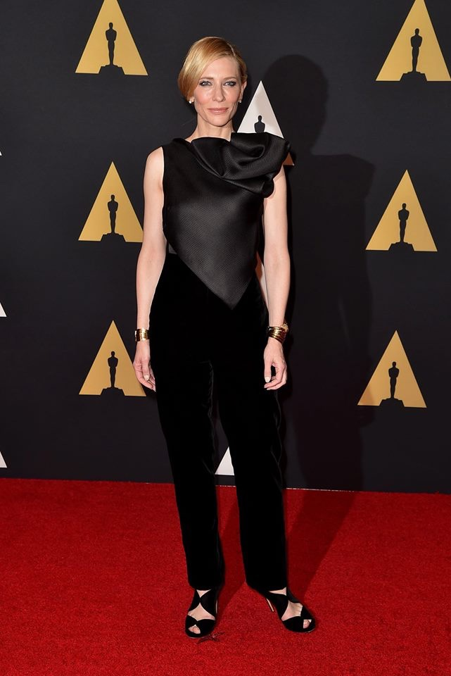 Cate Blanchett at the 7th Annual Governors Awards wearing Armani Privé black top and velvet trousers. Photo: Armani