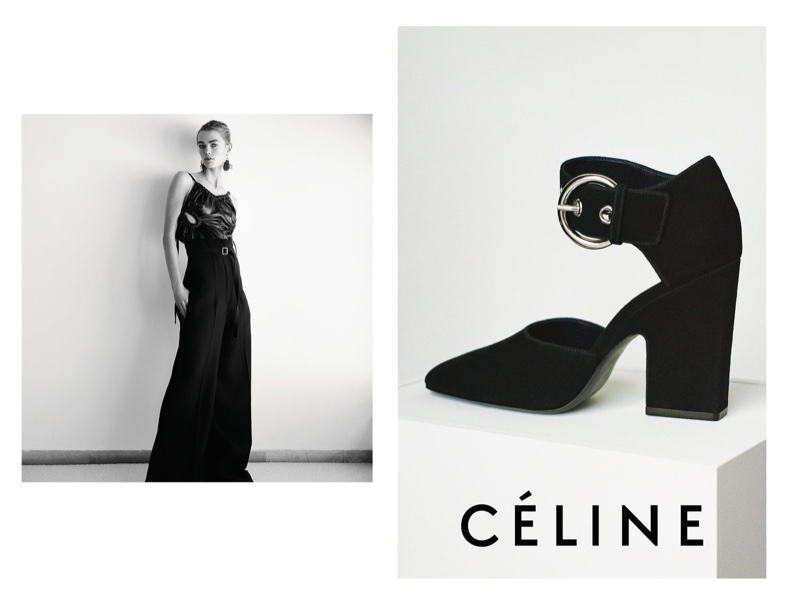 An image from Céline's resort 2016 campaign featuring a cuff strap heel