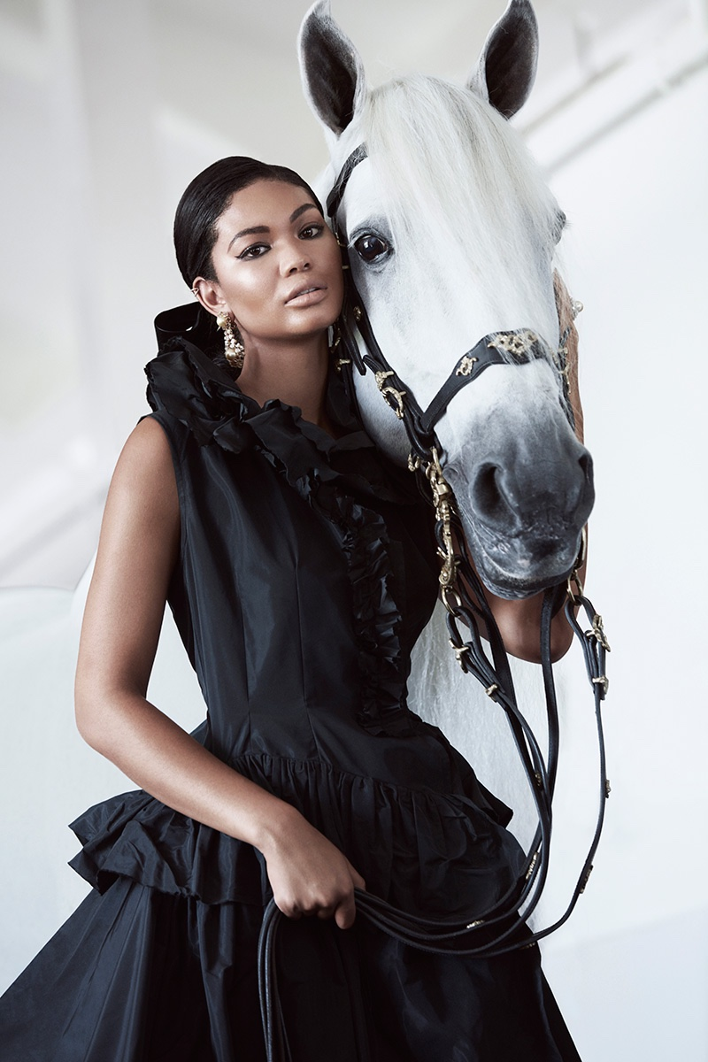 Chanel Iman Exudes Elegance in Equestrian Story for BAZAAR Arabia