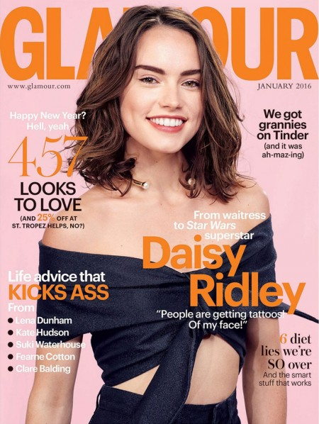 Daisy Ridley on Glamour UK January 2016 cover