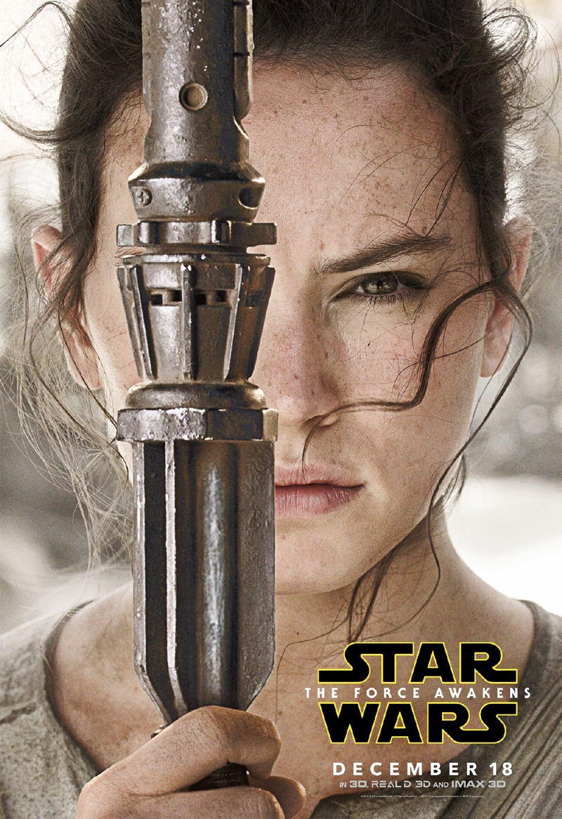 Daisy Ridley as Rey in Star Wars: The Force Awakens poster