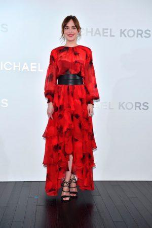 Dakota Johnson Blooms in Red at Michael Kors Tokyo Event