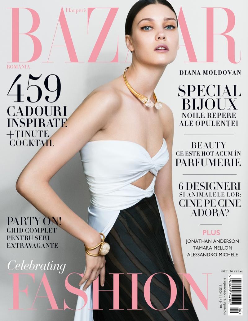 Diana Molodovan on Harper's Bazaar Romania November 2015 cover