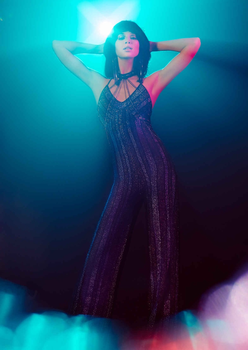 Nasty Gal Can You Feel It Striped Lurex Jumpsuit, Pave the Way Choker Bodychain