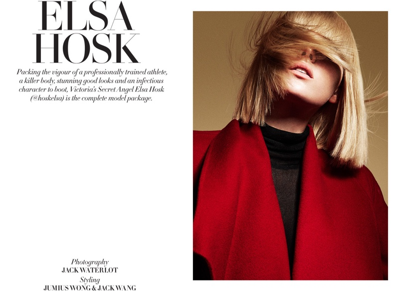 Elsa wears a short bob hairstyle for the editorial