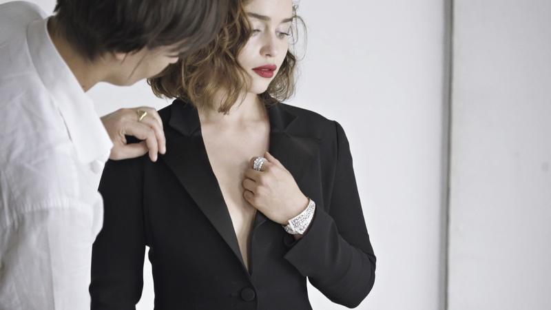 Emilia Clarke behind the scenes on Dior jewelry campaign