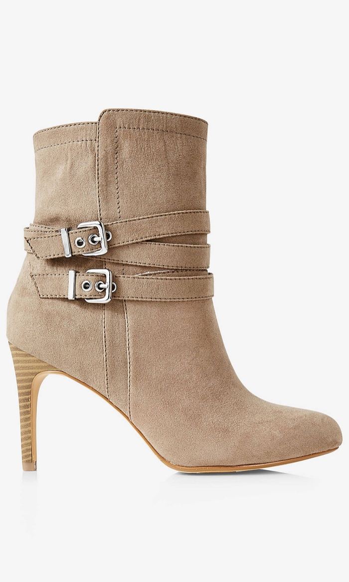Express Faux Suede Double Buckle Wrapped Bootie