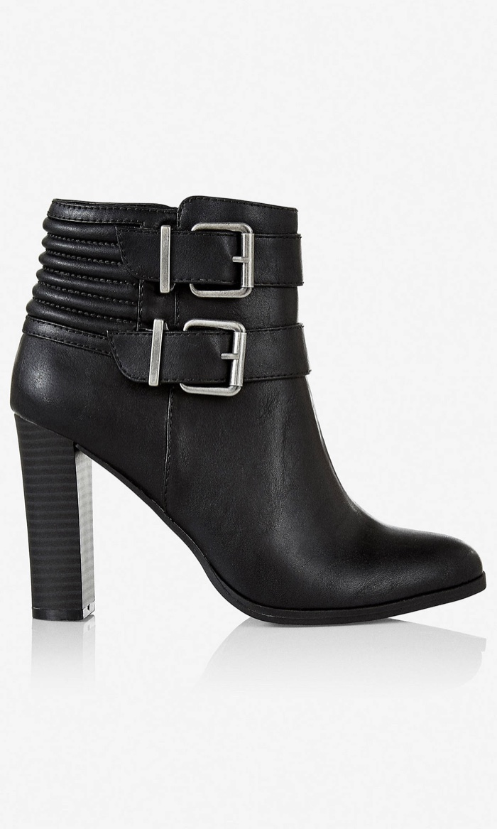 Express Ribbed Double Buckle Bootie