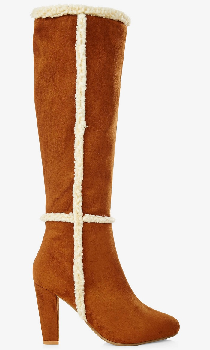 Express Tall Faux Suede Heeled Boot