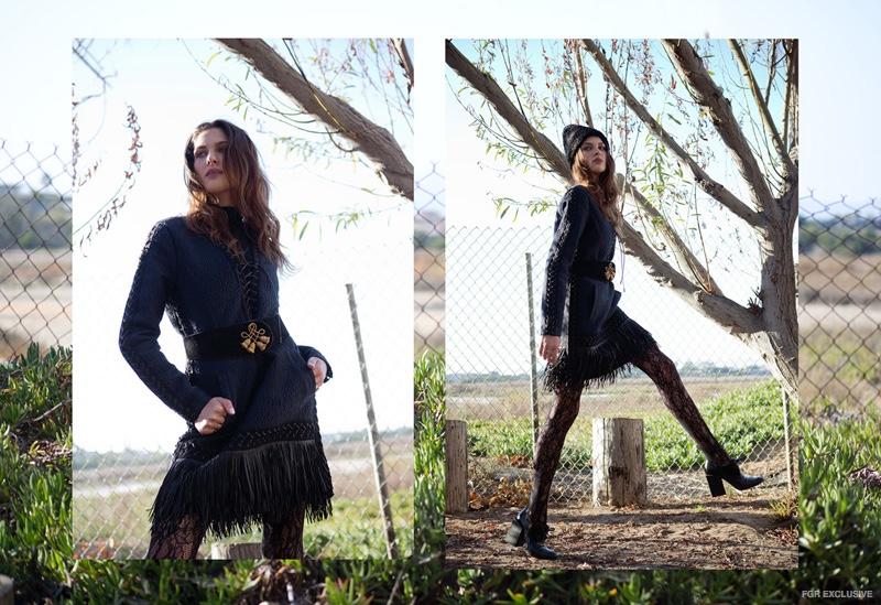 Turtleneck Splendid, Dress BCBG Max Azria Runway, Stockings Wolford, Hat Vintage, Belt Vintage, Shoes Balenciaga