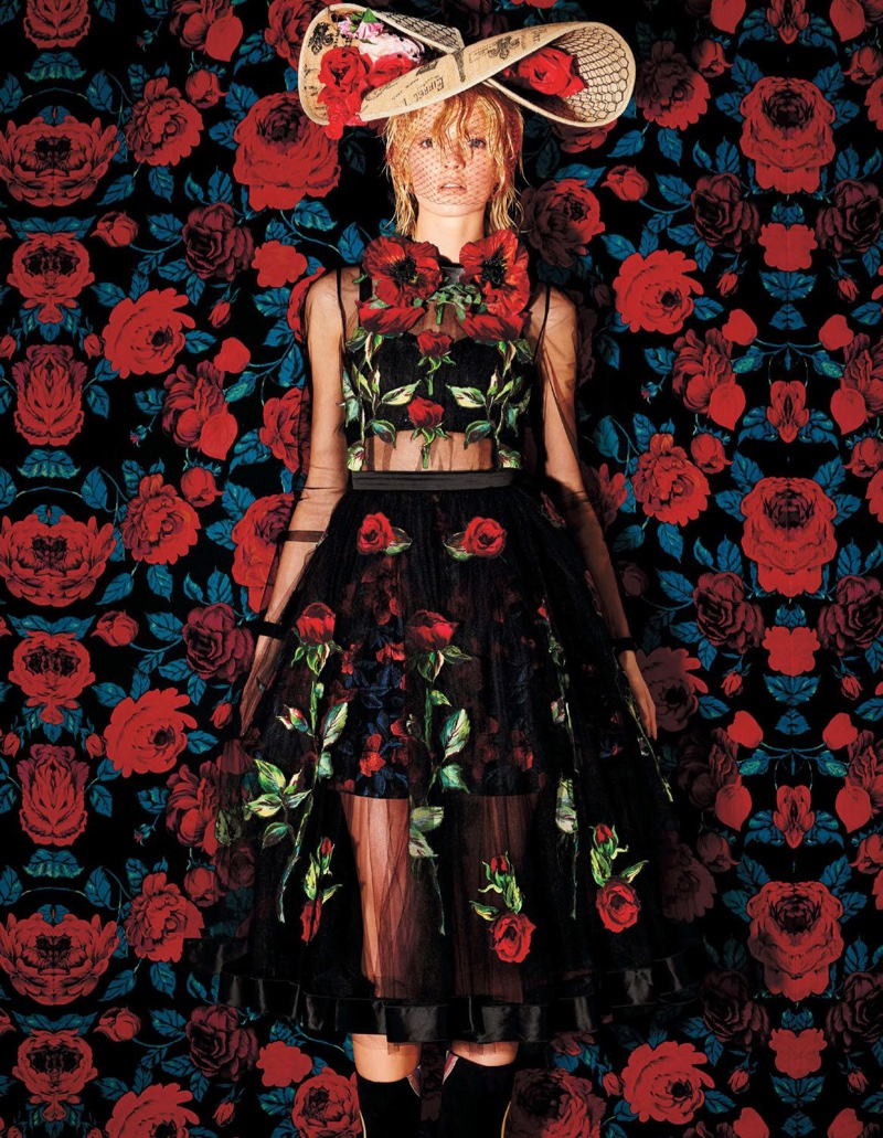Daria Strokous Models the Ultimate Floral Looks for BAZAAR Japan