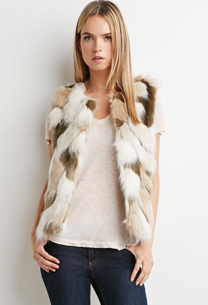 Forever 21 Contemporary Multi-colored Faux Fur Vest