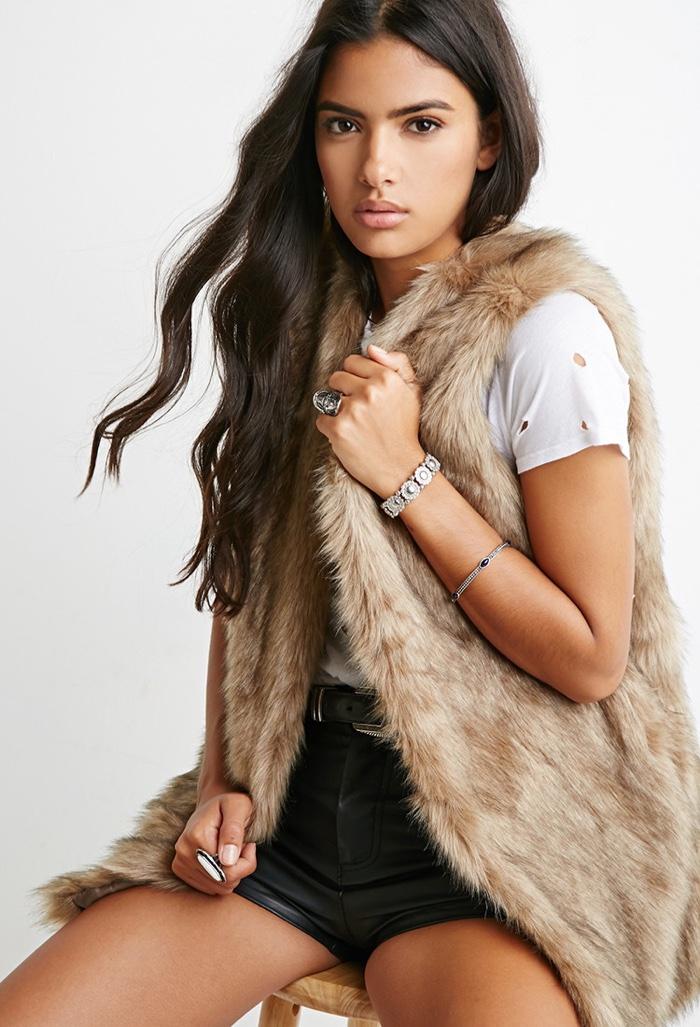 Forever 21 Light Brown Faux Fur Vest