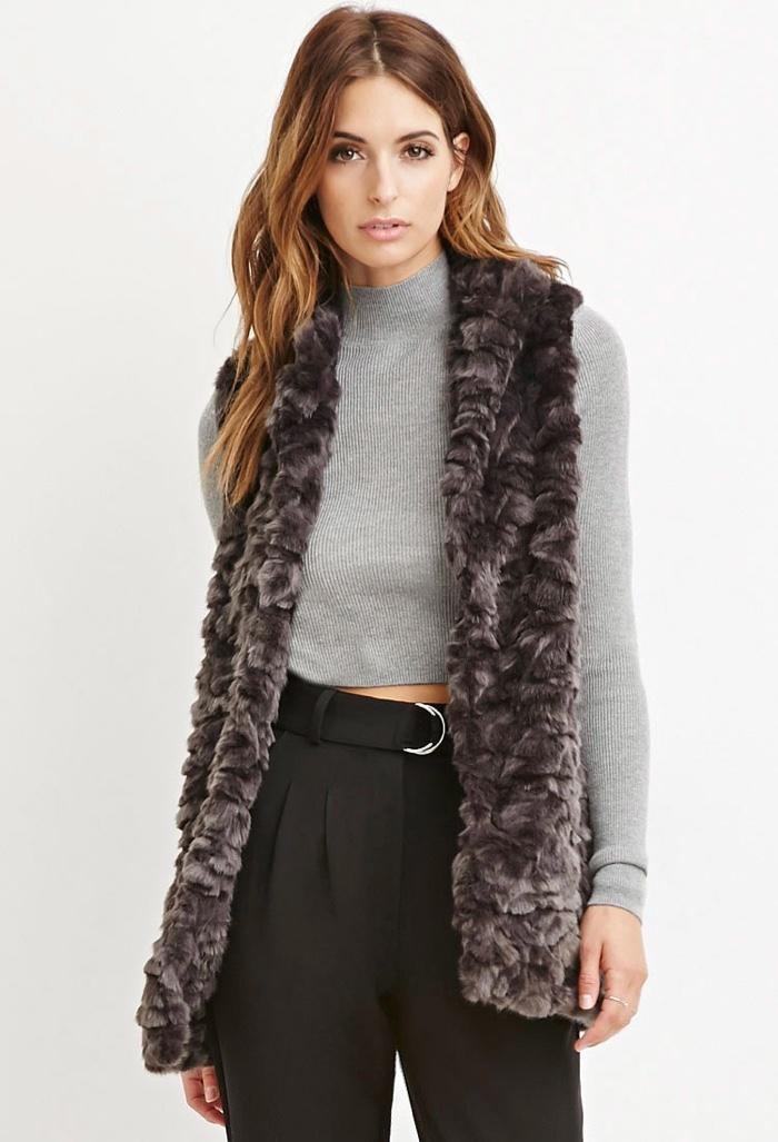 Forever 21 Long Faux Fur Vest
