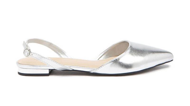 Forever 21 Metallic Flat Mules in Silver $14.90