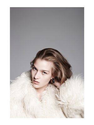 Elena Bartels Wears Fur Coats with Attitude for BAZAAR Germany