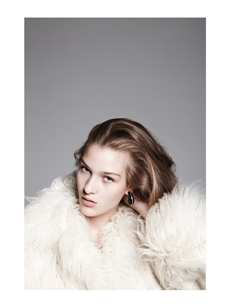 Elena Bartels Wears Fur Coats with Attitude for BAZAAR Germany