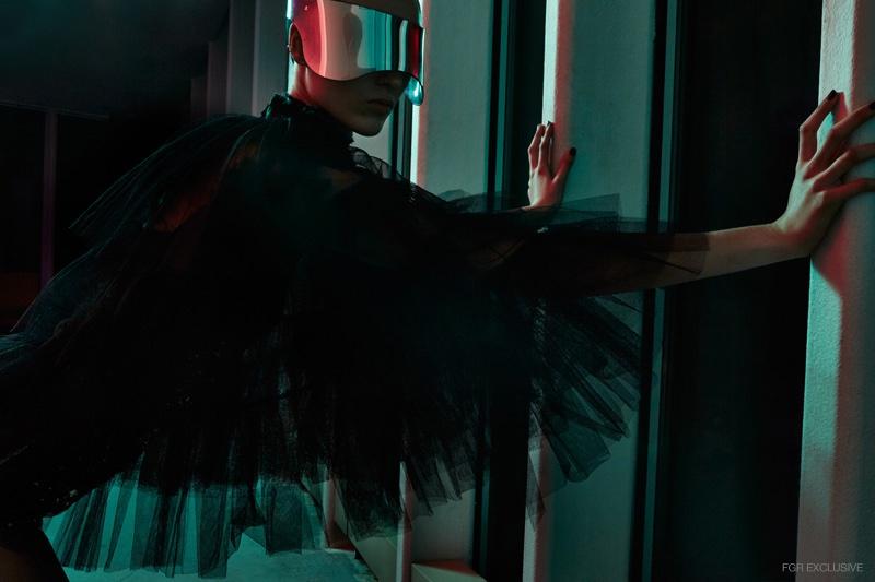 Visor Alexander McQueen, Sequin Bodysuit Dolce & Gabbana, Layered Tulle Cape Gucci
