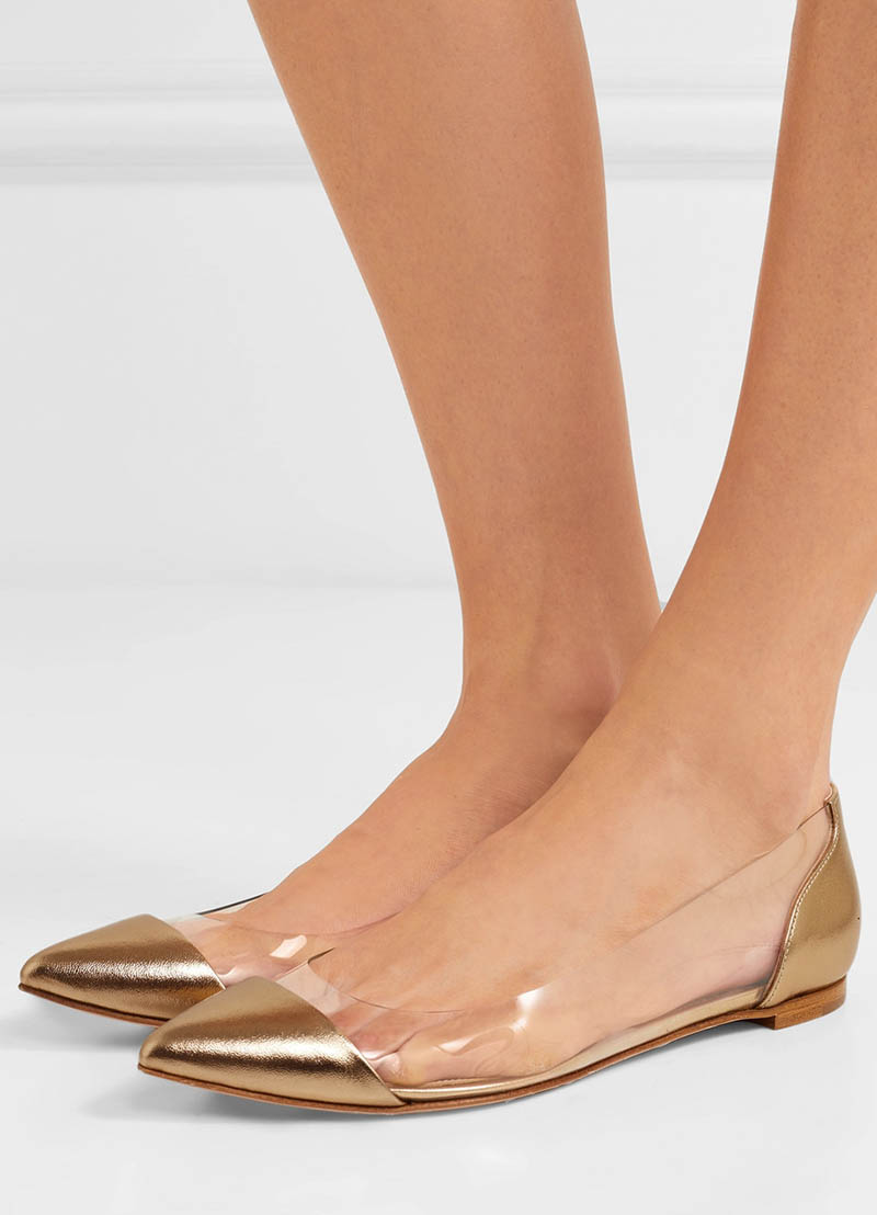 Gianvito Rossi Metallic Leather and PVC Point-Toe Flats $695