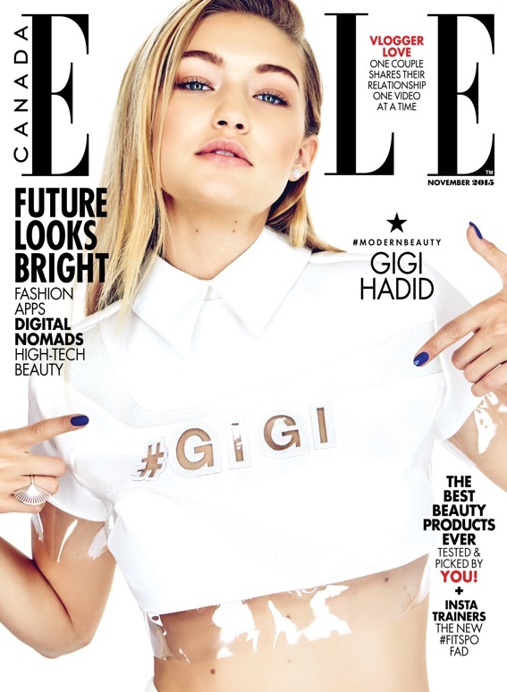 Gigi Hadid on ELLE Canada November 2015 cover