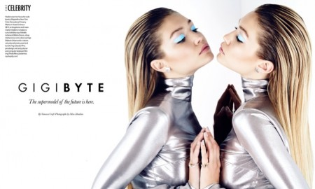 Gigi poses for Max Abadian in futuristic looks