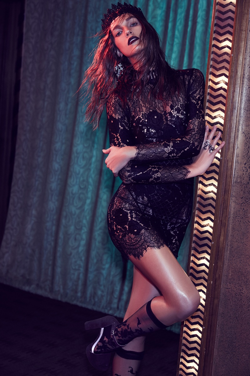 Laced on a True Story Sheer Dress, SKIVVIES Delilah Mesh Appliqué Bodysuit, Rock 'N Rose Uptown Crown Lace Headband, Miss Behaving Ring Set