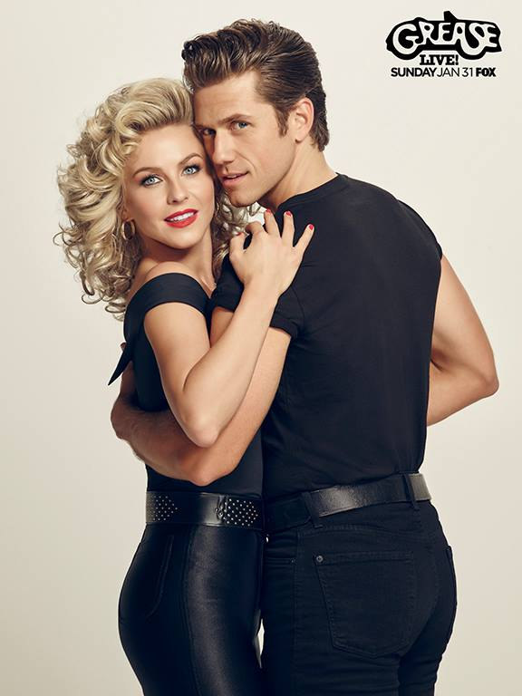 Julianne Hough as Sandy and Aaron Tveit as Danny in Grease Live