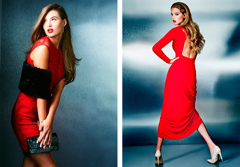 (L) Guess Wilshire Dress in Red, Faux Fur Pull-Through Scarf (R) Guess Long-Sleeve Open-Back Maxi Dress, Pointed Toe Pumps
