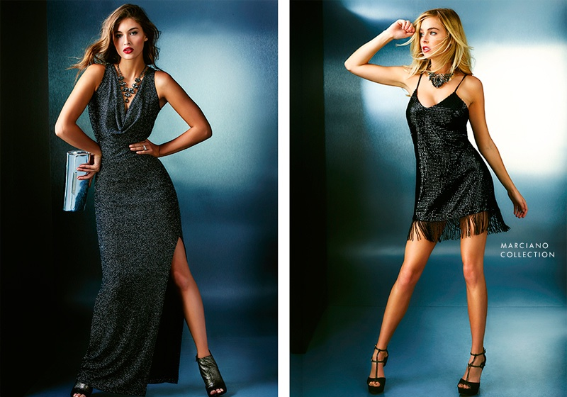 (L) Guess Isla Sparkle Maxi Dress (R) Guess by Marciano Adderlay Fringe Dress
