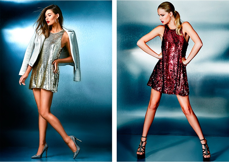 (L) Guess Easy Sequined Dress (R) Guess Sparkle Dress