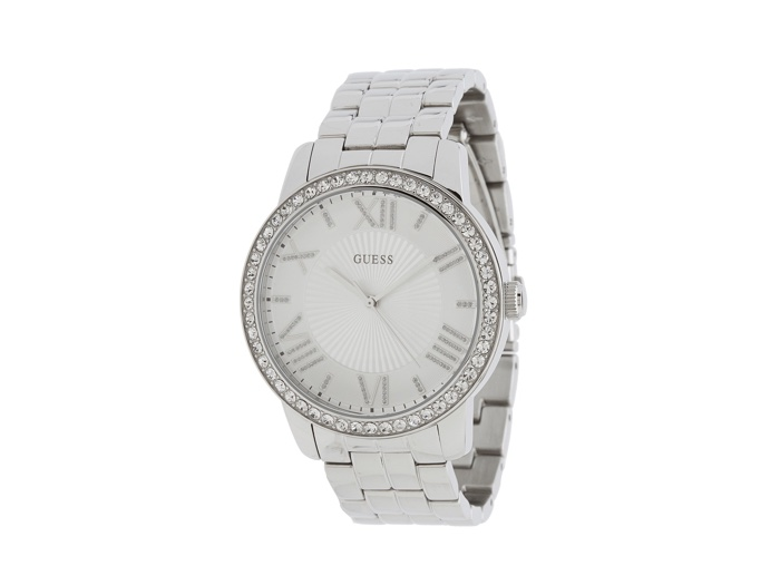 Guess Silver & Crystal White Watch