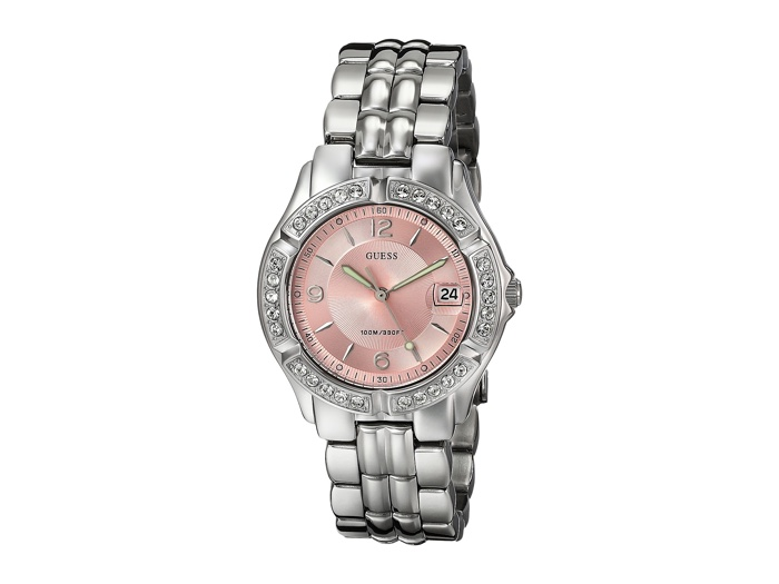 Guess Stainless Steel Quartz Watch with Pink Face