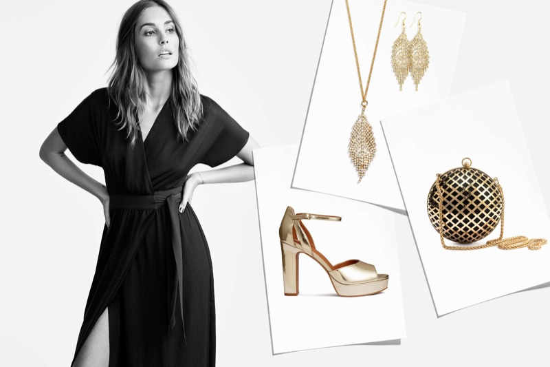 The model poses with party perfect accessories in the lookbook