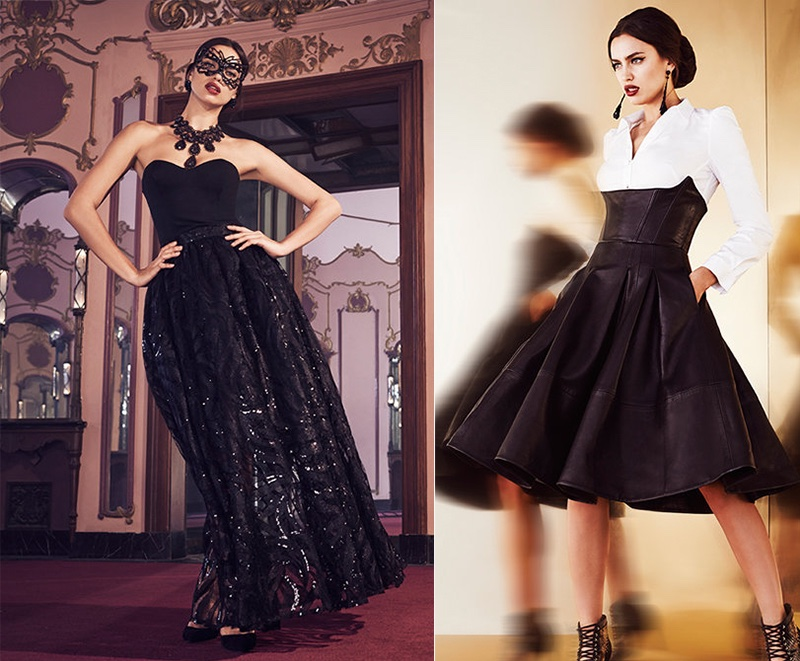 (L) Bebe Black Strapless Embroidered Gown (R) Bebe White Button-up Shirt & Leather Ballet Skirt