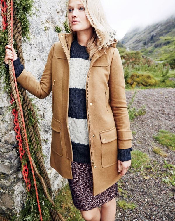 J.Crew women's duffle coat, Collection Italian cashmere cable sweater in stripe and Collection rose-gold tweed mini skirt