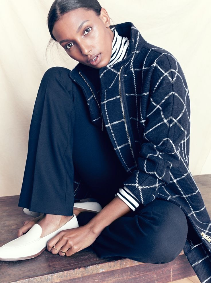 J.Crew Cocoon Coat in Windowpane Print, Preston Pant and Leather Loafers