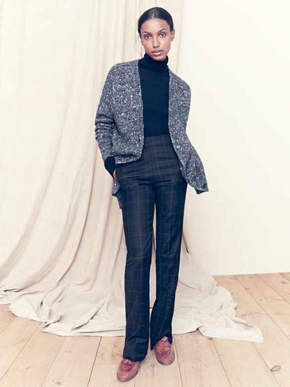 J.Crew Collection Chunky Marled Cardigan Sweater, Shrunken Turtleneck Sweater, Classic Full-Length Pant In Windowpane Plaid, and Biella Crackled Leather Loafers