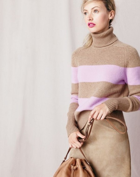 J.Crew women's Collection Italian cashmere ribbed turtleneck in stripe, Collection A-line midi skirt in suede and bucket bag.