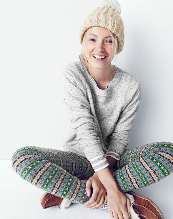 J.Crew women's classic crewneck sweatshirt, Fair Isle legging, ribbed pom-pom beanie, striped boatneck T-shirt, Fair Isle trouser socks and lodge moccasins.