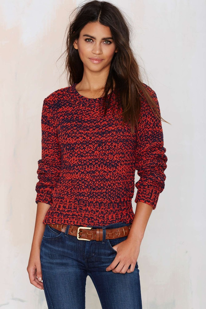 J.O.A. Street Heat Chunky Sweater in Red available for $68.00
